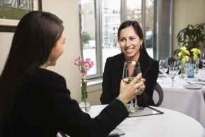 Two businesswomen in restaurant