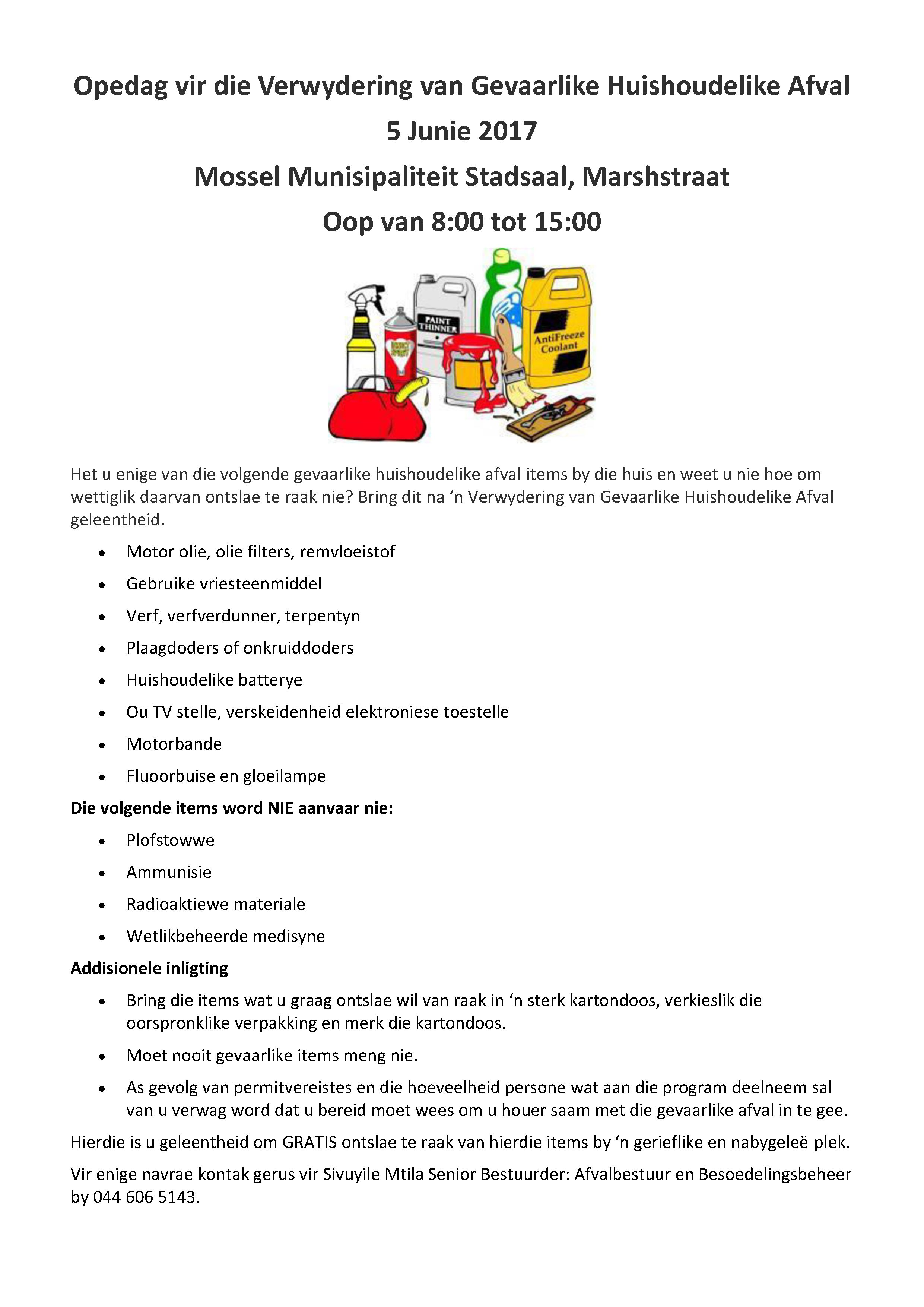 Open Day for Disposal of Household Hazardous Waste AFR